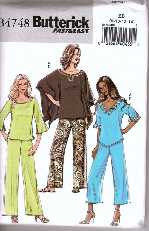 Sewing Pattern Butterick 4748  Retro Tops and Pants Size 8-14 Bust 31-36 inches Uncut Complete FF
