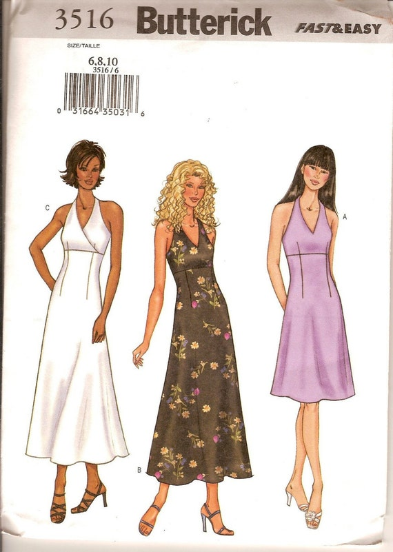 Sewing Pattern Butterick 3516 Halter Dress Pattern Bust 30-32 Inches Uncut Complete