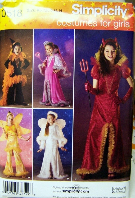 Sewing Pattern Simplicity 0518 Girls Costumes Size 7 - 14 Uncut Complete FF