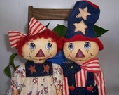 The Littlest Patriots...Raggedy Cloth Doll Pattern...Patriotic...Americana