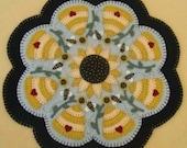 Candle Mat Kit, Penny Rug Kit, Wool Felt Kit, Summer Beehive Candle Mat Kit, Prim Wool Felt Kit, Merino Wool Candle Mat Kit, Sweet as Honey