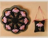 Candle Mat Kit, Penny Rug Kit, Wool Felt Kit, Summer Cone Flowers Candle Mat Kit, Prim Wool Felt Kit, Merino Wool Candle Mat Kit, Summertime