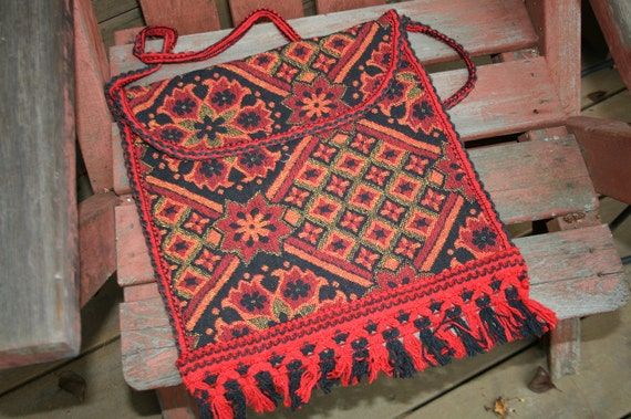 vintage Hippy Bag Tapestry pouch great pattern red