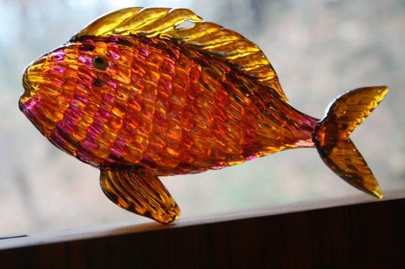 vintage glass fish bright colorful