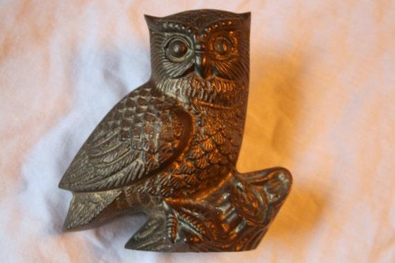 Vintage Brass Owl Heavy old