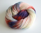 Hand Dyed Merino Wool - Worsted Superwash Single Ply Merino - 240 yards Worsted Weight - Age of Steam - Red, Gray, Blue, Purple and White