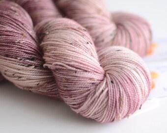 Hand Dyed Tweed Sock Yarn - Superwash Merino / Nylon 438 Yards - Persephone in Pomegranate Purple and Warm Pink