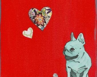 French Bulldog Art Print - French Bulldog Collage - French Bulldog Hearts - French Bulldog Painting - Red & Aqua- Wall Art - Nursery Art