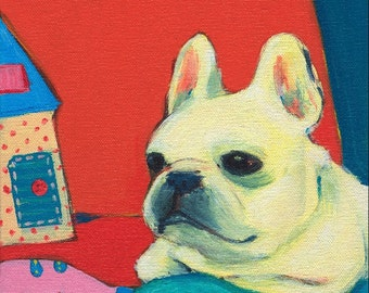 French Bulldog Art Print - Frenchie Print - French Bulldog Painting - Frenchie Painting - Office Decor - Wall Art Print - 8 x 8 Art Print