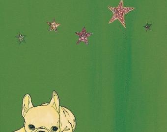 French Bulldog Art Print - French Bulldog Collage - French Bulldog Stars - French Bulldog Painting - Green and Yellow - Summer Inspired
