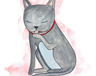 SALE ITEM: Gray Cat Art Print - Cat Art - Kitten Art Print - Wall Art for Kids - Nursery Decor - Office Decor - Watercolor Art Print