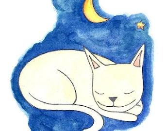 Moonlit Cat Art Print - Watercolor Cat Painting - Cat Art - Cat Illustration - 6 x 8 Art Print - Nursery Art - Kids Art - Wall Art for Kids