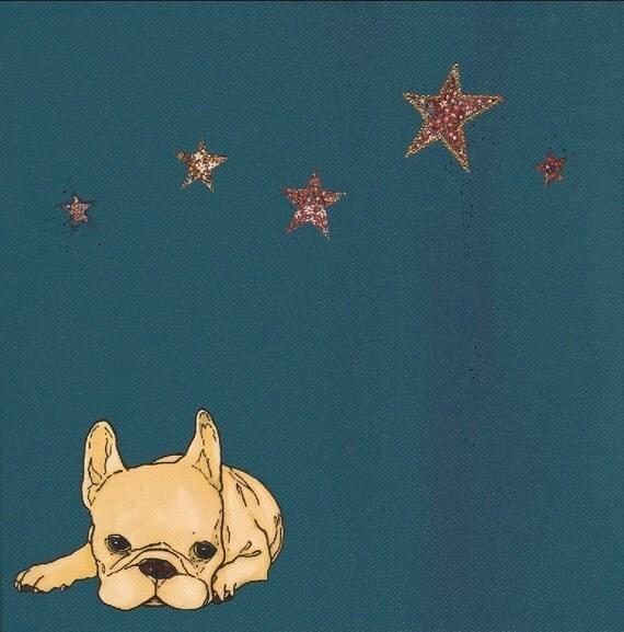henri with stars - winter - 8 x 8 print