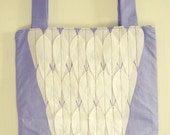 CLOSING DOWN SALE Organic Cotton Tote bag - Lavender-blue White Feathers with pocket (Prototype Special PRICE)