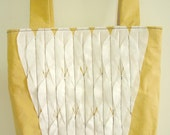 CLOSING SALE Organic cotton tote bag - Yellow Ochre with white feather wing design