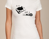 Beck Where its at 2 turntables and a microphone girls ladies shirt silkscreen screenprint Alternative Apparel