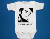 Morrissey baby onesie creeper silkscreen screenprint Choose Size and color