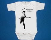 bruce springsteen born in the usa baby onesie creeper silkscreen screenprint Choose Size