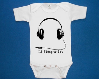 DJ SLEEP A LOT Sleep-A-Lot headphones baby bodysuit one piece creeper  screenprint Choose Size