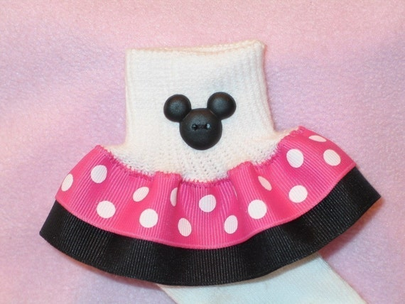 Custom Boutique Ribbon Ruffle Socks - Hot Pink Mickey Minnie Polka Dot with Button Embellishment