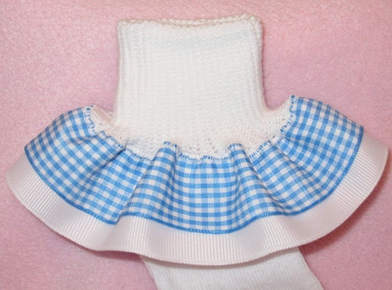 Dorothy Blue Gingham Ribbon Ruffle Socks - Wizard of Oz - Custom Boutique