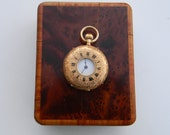 Vintage 18K gold ladies pocket watch dated 1896- Vacheron in original box - Half Hunter