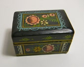 RESERVED FOR LINDA  Vintage Hand Painted wooden Box with hinged lid, black and floral
