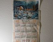 Vintage calendar towel, kitchen towel, dish cloth  in linen 1973 featuring the skating pond