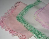 Vintage cotton linen  hankies set of three,  handkerchiefs - crochet edge - pink and white - green trim