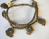 Antique Mexican Silver necklace, hand made using silver type beads and motifs -