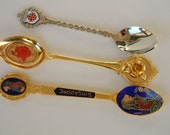 Vintage decorative spoons, Singapore, Jerusalem and for mother