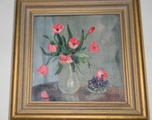 Vintage painting, oil on canvas, Verne of Lagua Beach California 1940-1960, framed