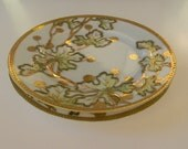 Vintage hand painted plates, Yamato Nippon, set of two - gold leaves and border
