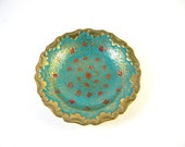 Vintage brass plate with turquoise and red designs, middle eastern look