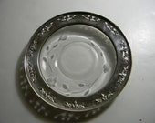 Vintage glass plate with silver tone edge and floral pattern