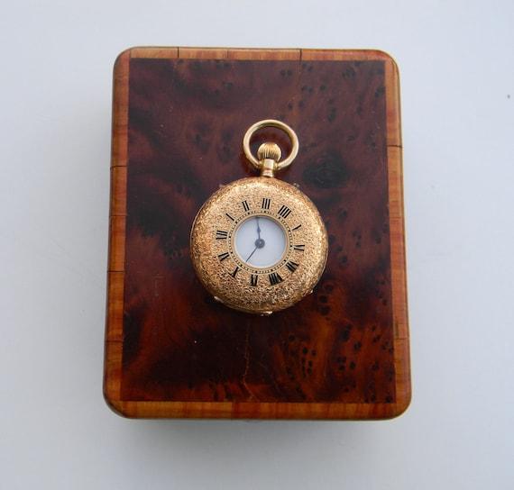 Vintage 18K gold ladies pocket watch dated 1896- Vacheron in original box - Half Hunter