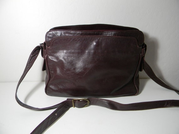 Vintage  leather handbag - italian -  in the softest of leather - bordeaux - wine color