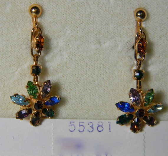 Vintage gold earrings - Van Dell earrings 12K gold filled - new old stock circa 1950 with colored rhinestones and crystals