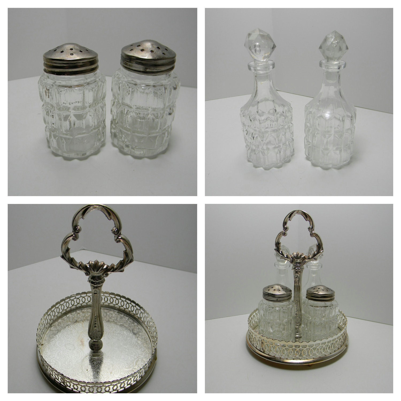 Vintage cruet set salt pepper oil and vinegar and by felicesereno - Salt and pepper cruet set ...