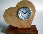 Wood Tilted Heart Clock