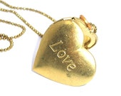 LOVE Heart locket, necklace (NKOB28)  ... valentine, dainty, mod, minimalist, jewelry