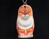 MATRYOSHKA, Russian NESTING Doll orange tabby CAT NECKLACE by Holly Modine Studio