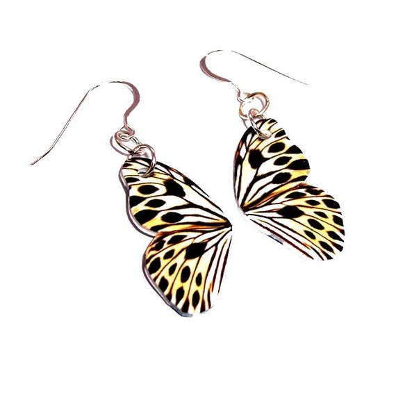 Cheetah Butterfly WING earrings (EAWG2) ..... Shop Closing SALE .. fantasy, jewelry, gift, elven, elvish, fantasy, wild, spirit, pixie, elf
