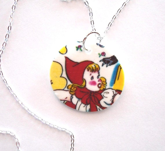 Little RED Riding HOOD necklace by Holly Modine Studio