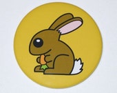 Bunny Rabbit (Yellow) - 2.25 Inch Large Button / Magnet / Bottle Opener / Pocket Mirror - Cute Animal - Sick On Sin