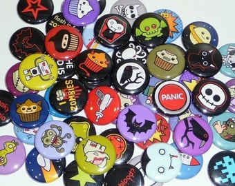 Horror / Science Fiction / Halloween / Goth - 1 Inch Buttons and Magnets - Cute Fun Designs - Sick On Sin