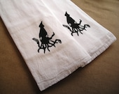 Set of Two Flour Sack Towels-white with black squid image--free domestic shipping-(FST003)