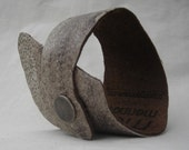 Wolf Fish Leather Cuff with Brown Leather Backing and Snap Closure-small sizing--(F075)--Free Domestic Shipping
