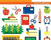 Back To School Cliparts / back to school clip art digital images / commercial use / instant download / cute clip art