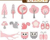 Pink Stripe Forest Cliparts 07245.. Instant download